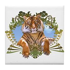 Fierce Siberian Tiger Crest Tile Coaster
