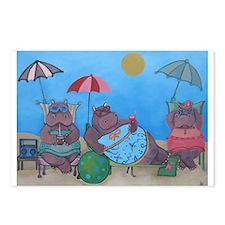 hippo sunbathers postcards