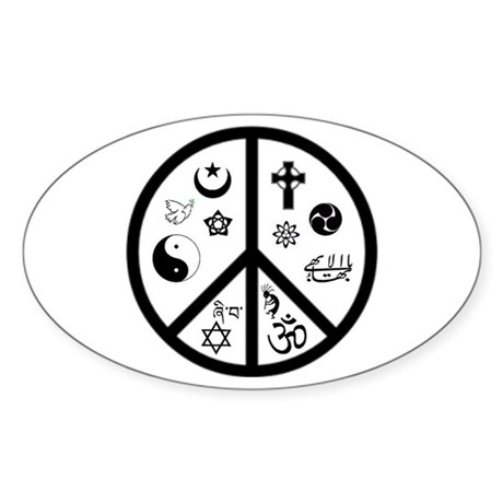 Peaceful Coexistence Oval Sticker