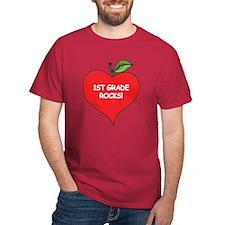 Heart Apple 1st Grade Rocks T-Shirt