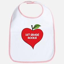 Heart Apple 1st Grade Rocks Bib