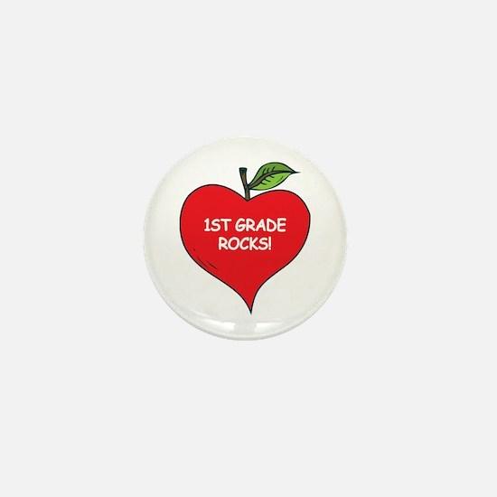 Heart Apple 1st Grade Rocks Mini Button