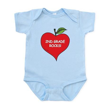 Heart Apple 2nd Grade Rocks Infant Bodysuit