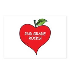 Heart Apple 2nd Grade Rocks Postcards (Package of