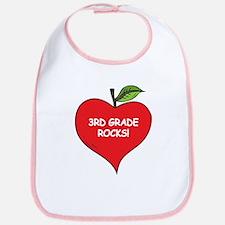 Heart Apple 3rd Grade Rocks Bib