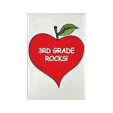 Heart Apple 3rd Grade Rocks Rectangle Magnet