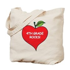 Heart Apple 4th Grade Rocks Tote Bag