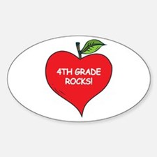 Heart Apple 4th Grade Rocks Oval Decal