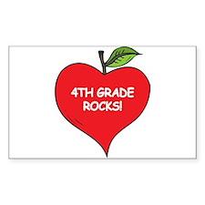 Heart Apple 4th Grade Rocks Rectangle Decal