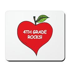 Heart Apple 4th Grade Rocks Mousepad