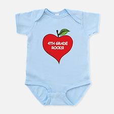 Heart Apple 4th Grade Rocks Infant Bodysuit
