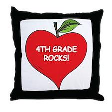 Heart Apple 4th Grade Rocks Throw Pillow