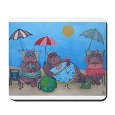 hippo sunbathers mousepad