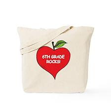 Heart Apple 6th Grade Rocks Tote Bag