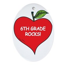 Heart Apple 6th Grade Rocks Oval Ornament