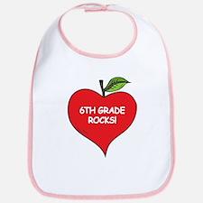 Heart Apple 6th Grade Rocks Bib