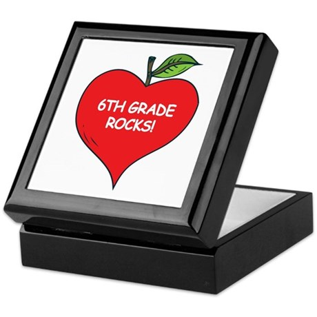 Heart Apple 6th Grade Rocks Keepsake Box