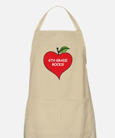 Heart Apple 6th Grade Rocks BBQ Apron