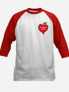 Heart Apple 7th Grade Rocks Kids Baseball Jersey