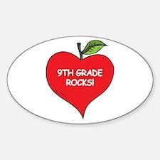Heart Apple 9th Grade Rocks Oval Decal