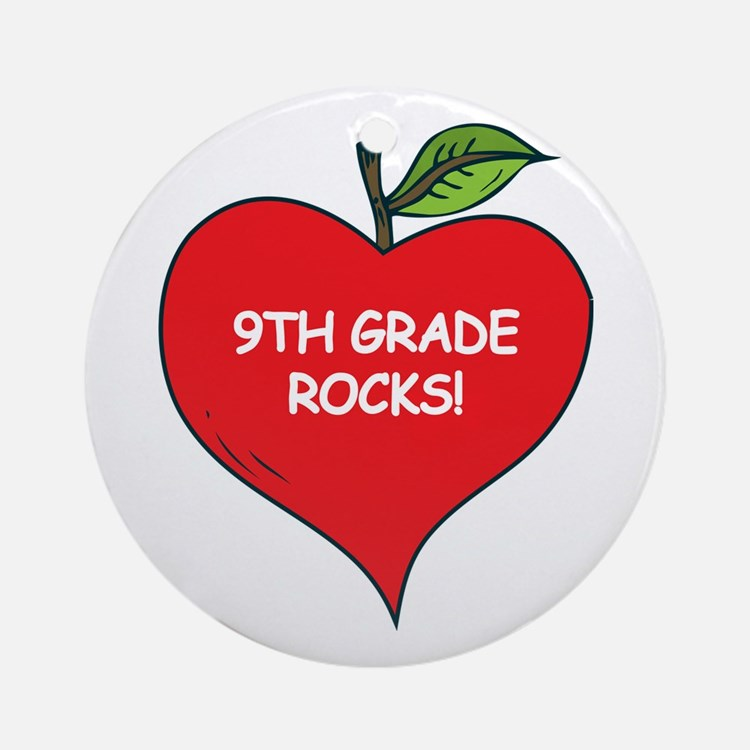 Heart Apple 9th Grade Rocks Ornament (Round)