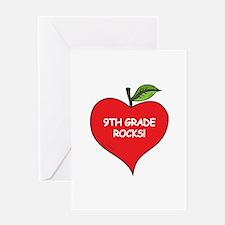 Heart Apple 9th Grade Rocks Greeting Card