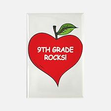 Heart Apple 9th Grade Rocks Rectangle Magnet