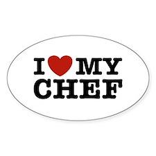 I Love My Chef Oval Bumper Stickers
