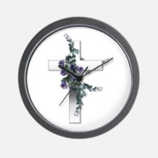 Silver Cross Wall Clock