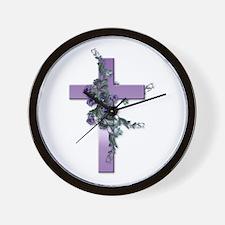 Purple Cross Wall Clock
