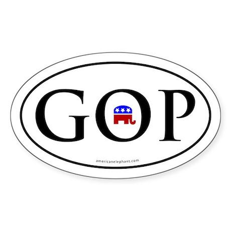 GOP Euro Styled Oval Bumper Sticker