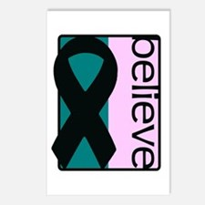 Teal and Pink (Believe) Ribbon Postcards (Package