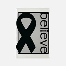 Silver (Believe) Ribbon Rectangle Magnet