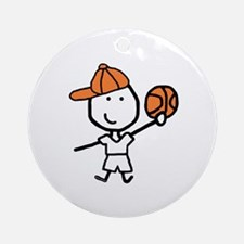 Boy & Basketball Ornament (Round)