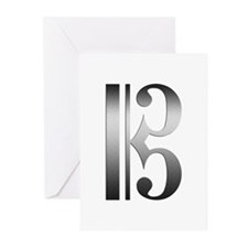 """Silver"" C Clef Greeting Cards (Pk of 10)"