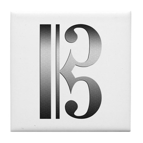 """Silver"" C Clef Tile Coaster"