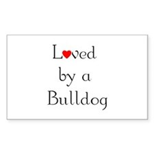 Loved by a Bulldog Rectangle Decal