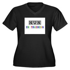 Nun In Training Women's Plus Size V-Neck Dark T-Sh