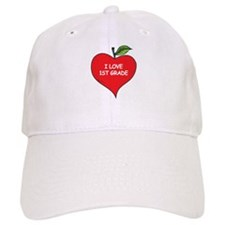 Heart Apple I Love 1st Grade Baseball Cap