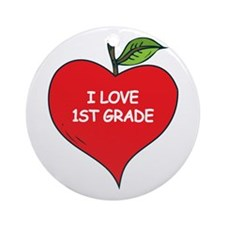 Heart Apple I Love 1st Grade Ornament (Round)