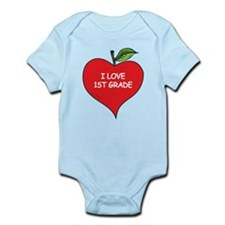 Heart Apple I Love 1st Grade Infant Bodysuit