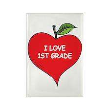 Heart Apple I Love 1st Grade Rectangle Magnet