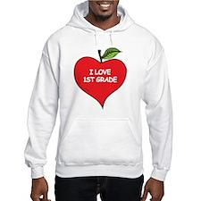 Heart Apple I Love 1st Grade Hoodie