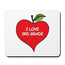 Heart Apple I Love 3rd Grade Mousepad