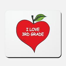 Heart Apple I Love 3rd Grade Mousepad