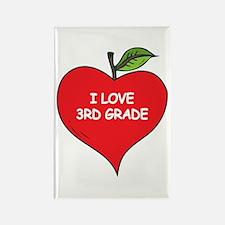 Heart Apple I Love 3rd Grade Rectangle Magnet