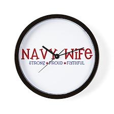 Strong, Proud, Faithful - Navy Wife Wall Clock