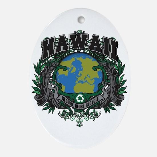 Hawaii Green Pride Oval Ornament