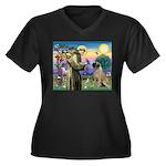 St Francis / Bullmastiff Women's Plus Size V-Neck
