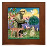 St Francis / Cocker (buff) Framed Tile